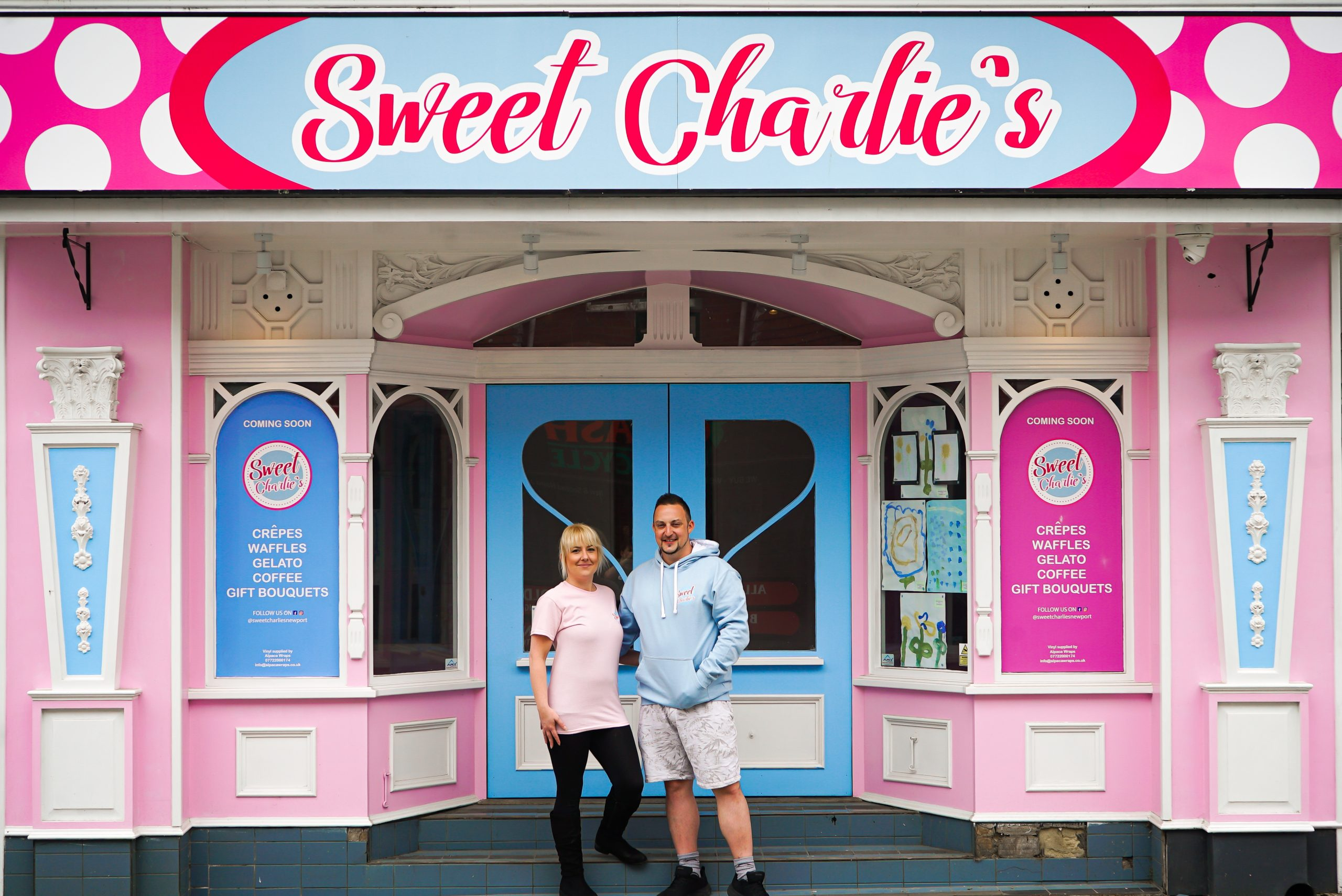 Charlie and Dave at the Sweet Charlie's Shopfront